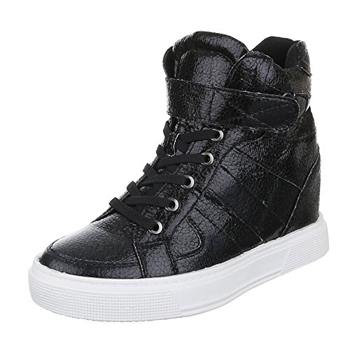 High-Top Sneaker Damen Schuhe High-Top Keilabsatz/ Wedge Sneakers Reißverschluss Ital-Design Freizeitschuhe Schwarz
