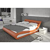 Polster-Bett 140x200 cm orange aus Kunstleder mit blauer LED-Beleuchtung