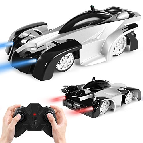 SGILE Remote Control Car Toy, Rechargeable Wall Climbing Climber Car with New Remote Control, Dual Mode 360� Rotating Stunt Car Racing Vehicle, LED Head Gravity-Defying, Gift for Kids Boy Girl Birthday