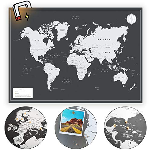 VACENTURES MAGNETISCHE Weltkarte I + 2X 15 Magnete - Markiere Deine Reiseziele I DIN A1 Landkarte für Weltentdecker I Hochwertige World Map für Wand/Rahmen I Schwarz/Weiß eisenhaltige Folie! (Magnetische Landkarte Wand)