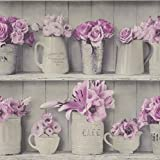 Papiertapete Rasch Blumen Vasen Vintage hellgrau flieder 307702