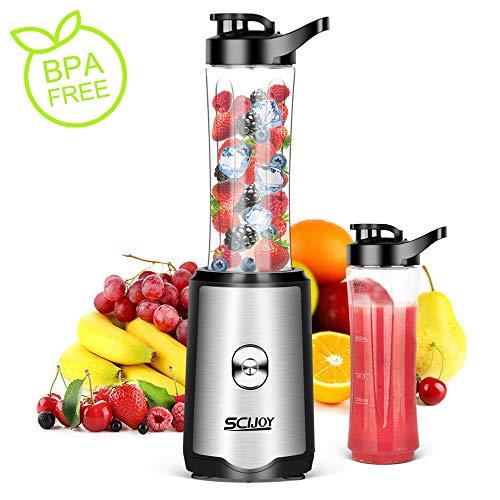 Mixer Smoothie Maker, SCIJOY Standmixer, 350W Mini Shake Maker, Multifunktion Smoothiemaker (23000 U/Min) mit 2 Sport-Flasche BPA frei Tritan, 600ml für Smoothie Getränk von Obst Gemüse (TypeA)