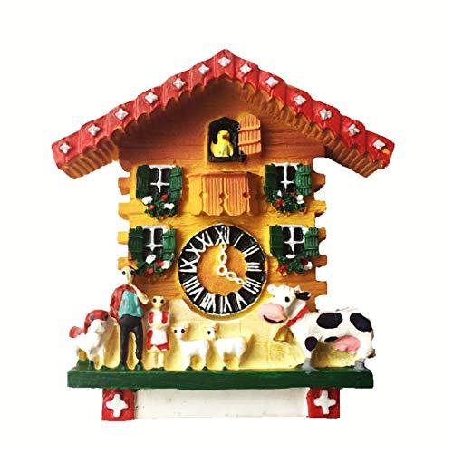 Kuckucksuhr Schweiz 3D Kühlschrankmagnet Harz Handarbeit Handwerk Tourist Reise Stadt Souvenir Sammlung Brief Kühlschrank Aufkleber