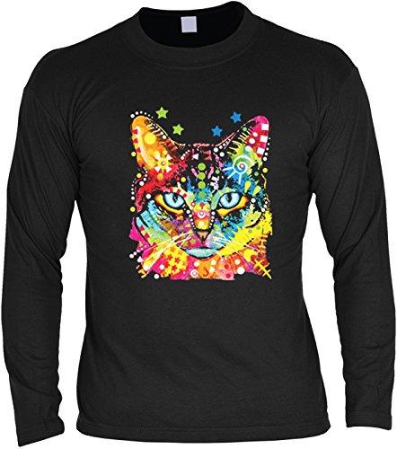 Katzen-Longsleeve/Langarmshirt Herren mit Cat-Neon-Druck: Blue Eyes für Katzenfreunde Schwarz