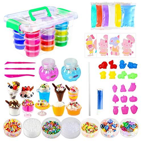 Ucradle DIY Slime Set (24 Farben) - 75 Teilig Schleim Set mit 24 Farben Crystal Slime, Super Spaß beim Schleim Selber Machen, ideale Kinderspielzeug und Lernspielzeug für die Kinder 3+
