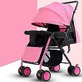 STC Kinderwagen 0-3 Jahre Altes Baby Tragbares Faltendes Kindauto Wasserdichte Breathable Markise, Rosa, a