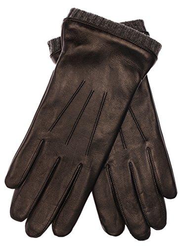 EEM Herren Leder Handschuh BJOERN, aus weichem Haarschafleder, mit Strickstulpe und Fleecefutter, schwarz anthra L