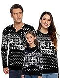Aibrou Maglione di Natale Famiglia Maglia Natalizio con Girocollo Manica Lunga Pullover Maglioni Natalizi Felpa Autunno Invernali per Uomo L