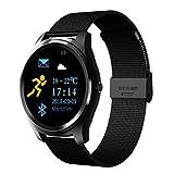 Fuibo Smartwatch, Herzfrequenz-Aktivität Schrittzähler Voice Assistant Smart Watch für Frauen Männer Armbanduhr Sport Fitness Tracker Armband … (Schwarz)