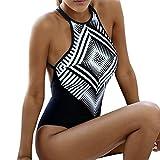 Ba Zha Hei Damen Bikini Geometrie Einteilige Hosen Bademode Frauen einteilige geometrische Bandage Badeanzug Bikini Bademode Riemchen Jumpsuit (L, Schwarz)
