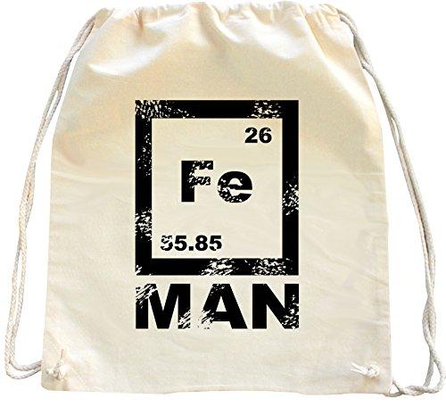Mister Merchandise Turnbeutel natur Rucksack FE Man Iron Man , Farbe: Natur