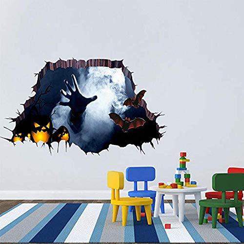Zamango 3D Halloween Wand Boden Aufkleber Horror Wand Decor Vivid Ghost Hand Kürbis Fledermaus vor Kratzern der Wand rissige Boden Abnehmbarer Home Dekoration