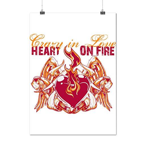 Herz Auf Feuer Valentine Auf Feuer Lust Mattes/Glänzende Plakat A4 (30cm x 21cm)   (Halloween Feuer Kostüm Frau)