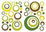 dekodino Sticker mural rétro cercles jaune vert marron 40 pcs salons
