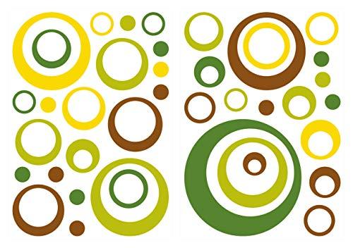 dekodino® Wandtattoo Retro Kreise gelb grün braun 40 Stück Wohnzimmer Deko