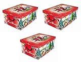 3 Stück XXL Dekokarton, Geschenkkarton mit tollem Weihnachtsmotiv