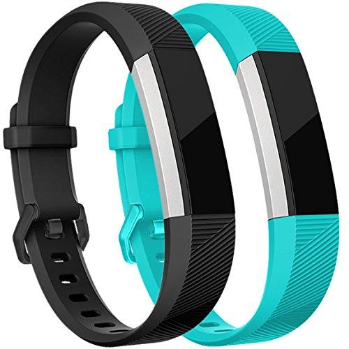 HUMENN Für Fitbit Alta HR Armband, Alta Armband Verstellbares Sport Ersatz Band Ersatzarmband Wristband Silikonarmband Fitness Zubehörteil mit Metallschließe Small Schwarz+Teal
