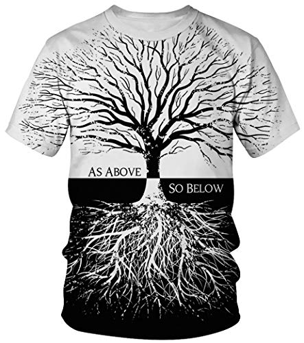 Niedlich Mädchen Nerd Kostüm - Ocean Plus Unisex Rundhals Sportswear T-Shirt Kostüm mit Aufdruck Fasching Größen S-3XL Tops mit Kurzarm (L (Referenzhöhe: 165-170 cm), Schwarz-Weiß Baum)