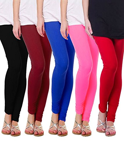 M.G.R Women\'s Cotton Lycra Churidar Leggings Combo (Pack of 5 Pink ,Blue ,Brown ,Red ,Black) - Free Size