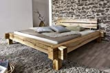 SAM Massiv-Holzbett 180x200 cm Johann, Bett aus Wildeiche geölt, Kopfteil geteilt