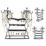 Grinscard - Design Schmuckständer Ohrringhalter Kettenhalter Schmuck Organizer aus Metall - schwarz - 35,5 x 34 x 12,5 cm