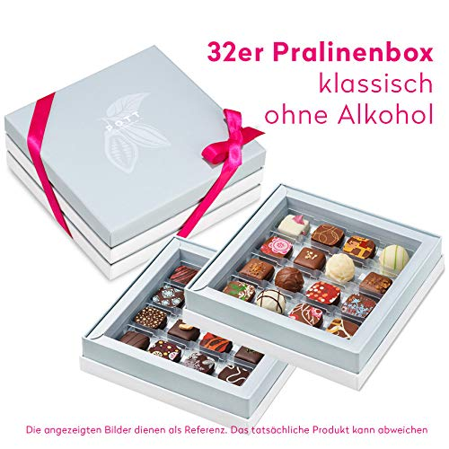 Pott au Chocolat Gourmet-Set - Geschenk-Box mit 32 Pralinen, handgemacht aus hochwertigem Edel-Kakao und frischen Zutaten - perfekt für jeden Anlass, als Dankeschön, liebe Gäste, die beste Freundin