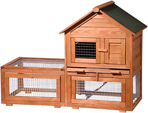 dobar 23385 Großer Hasenstall XXL mit Freilaufgehege und Zinkwanne, Kaninchenstall doppelstöckig aufklappbar, 134.5 x 62.5 x 99.5 cm, braun