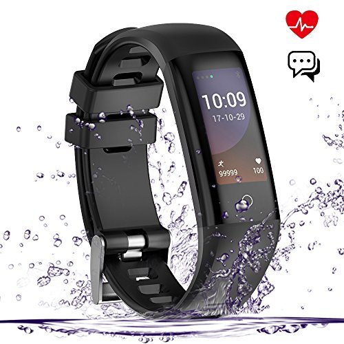 Fitness Tracker mit Pulsmesser,Yakuin Fitness Armband Uhr Wasserdicht IP67 Aktivitätstracker Bluetooth mit Bunte Touchscreen Smart watch mit Schlafmonitor,Blutdruck,Kalorienzähler ,Bluetooth, Zum Schwimmen, Whatsapp SMS ,Call Text für iOS/Android Handy