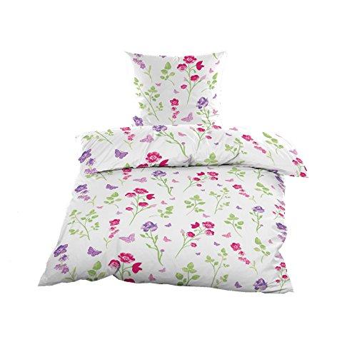 Casa Colori Renforce Bettwäsche Set 135x200 cm Sommer Bettwäschegarnitur in Weiss Blumen Pink Lila
