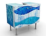 Apalis Design Vanity Fish in The Blue 60 x 55 x 35 cm, Piccolo, Largo 60 cm, Regolabile, lavandino, lavabo, Rubinetto per lavabo da Bagno, Armadio, unità di Base, Bagno, Narrow, Flat