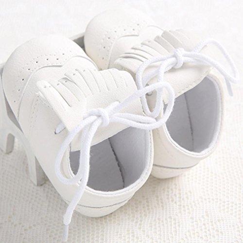 Clode® Baby Mädchen Schnürsenkel Lederschuh Anti-Rutsch-Soft Sole Kleinkind Schue Weiß