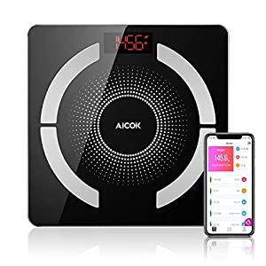 Aicok Personenwaage, Bluetooth Digital Körperfettwaage mit IOS und Android Smart App, Multifunktions-Körperzusammensetzung Messung, Maximale 400lb / 180kg, 2,4 cm Ultra-dünnen Design, schwarz