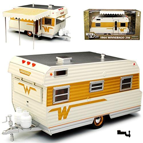 Greenlight Anhänger Wohnwagen Winnebago 216 1964 Weiss Gold 1/24 Modell Auto
