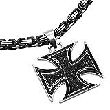 tumundo Set 1x Königskette Ø 5mm + 1x Anhänger Eisernes Kreuz Kruzifix Halskette Massiv Herrenschmuck Kettenanhänger, Farbe:Modell 4-70cm