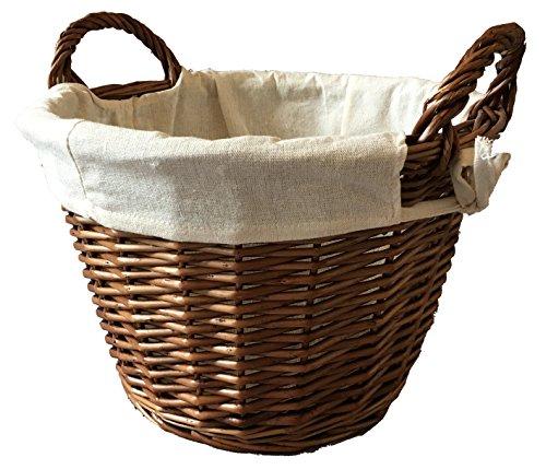 Furniture and your home Cesta Redonda de Mimbre Conjunto Color 22x 34L tamaño 2(Mediano) algodón Forro Caja de Juguete y de Almacenamiento Conjunto de Almacenamiento de Mimbre (