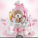 Timfanie® Windeltorte | Spieluhr (1-stöckig / zart-rosa)