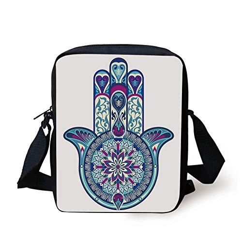 Hamsa,Eastern Culture Belief Turkish Spiritual Symbol in Retro Arabian Style,Blue Light Blue Purple Print Kids Crossbody Messenger Bag Purse