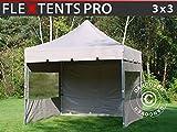 Tente Pliante Chapiteau Pliable Tonnelle Pliante Barnum Pliant FleXtents Pro Peaked 3x3m Latte, avec 4 cotés