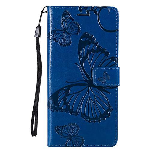 Preisvergleich Produktbild Lomogo Huawei P Smart+ (P Smart Plus) Hülle Leder, Schutzhülle Brieftasche mit Kartenfach Klappbar Magnetverschluss Stoßfest Kratzfest Handyhülle Case für Huawei P Smart+ - LOKTU23957 Blau