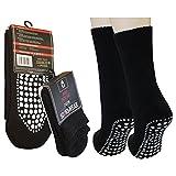 3 Paar Damen Herren ABS Socken Anti Rutsch Socken Stoppersocken Noppensocken (39-42, Anthrazit)