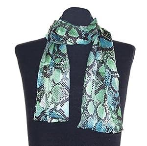 Schlangenmuster Schal Marion schwarz grün, Schaltuch ca. 36 x 160 cm, auffälliges Damen Halstuch im Schlangen Design