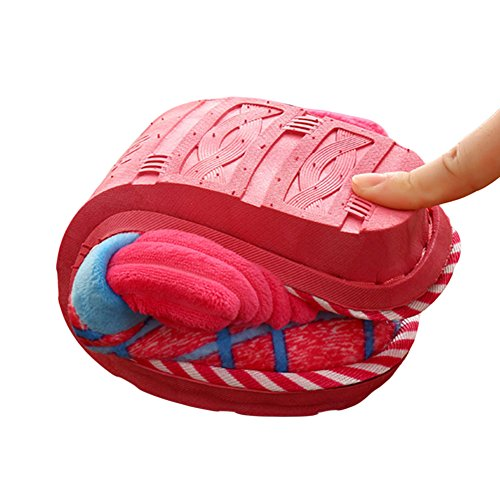 Meijunter Confort Doux Accueil Coton Chaussures Indoor Non-slip Chaussons Chaud red