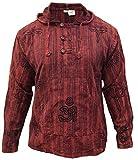 SHOPOHOLIC FASHION Herren Stonewashed Gestreift Mit kapuze Hippy Großvater Shirt - Kastanienbraun, Medium