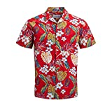 JACK & JONES Jorcole Shirt SS Org Camicia, Multicolore (Fiery Red Fit: Comfort/Straight), X-Large Uomo