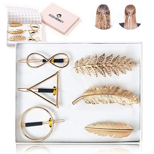 Fesch Monkey® - Beliebte Haarspangen in hochwertiger Box - Haarschmuck - Dreieck Kreis Unendlichkeit Blätter Feder - Ideal für Anlässe jeder Art