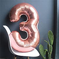 the GreatTony Number Foil Balloon Giant Self Inflating Balloons for Party Decorations,Rose Gold Color Number 3 Three ,34""