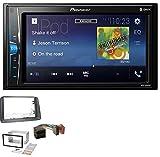 caraudio24 Pioneer MVH-A200VBT 2DIN MP3 AUX USB Bluetooth Autoradio für FIAT Panda (2003-2012) grau