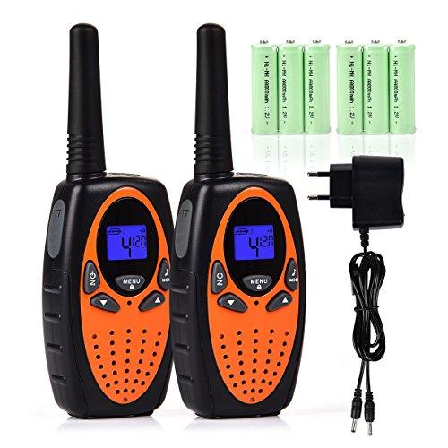 Tyhbelle 2er Funkgerät Walkie Talkie für Kinder PMR446 lizenzfrei 8 Kanäle mit LCD-Display (2er-Orange (mit akku und Ladekabel)) (Cb-funk Kleine)