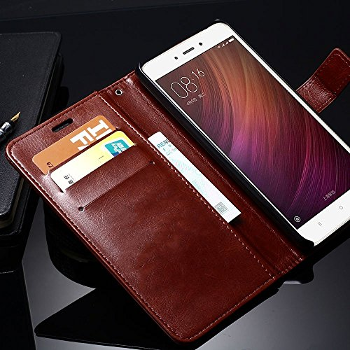 Thinkzy Artificial Leather Flip Cover Case for Samsung Galaxy A2 Core (Brown)