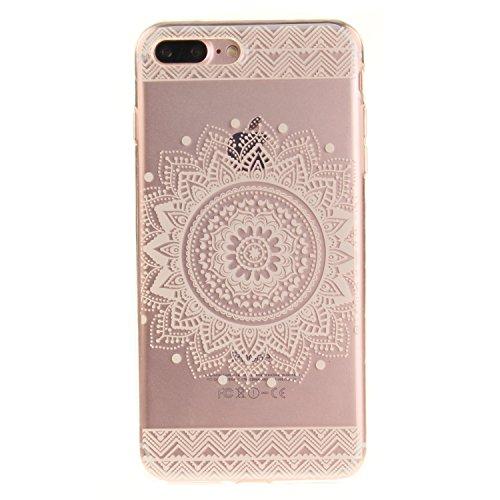 Qiaogle Téléphone Coque - Soft TPU Silicone Housse Coque Etui Case Cover pour Apple iPhone 5 / 5G / 5S / 5SE (4.0 Pouce) - TX77 / Noir mandala TX68 / Blanc dentelle Fleur